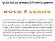 Tips that BoldLeads experts provide for better lead generation
