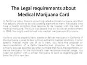 The Legal requirements about Medical Marijuana Card
