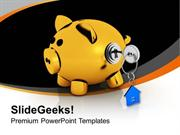 PIGGY BANK LOCKED WITH REAL ESTATE KEY POWERPOINT TEMPLATE