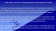 Online Casino Poker Tips  Winning Approaches When Playing Poker Online