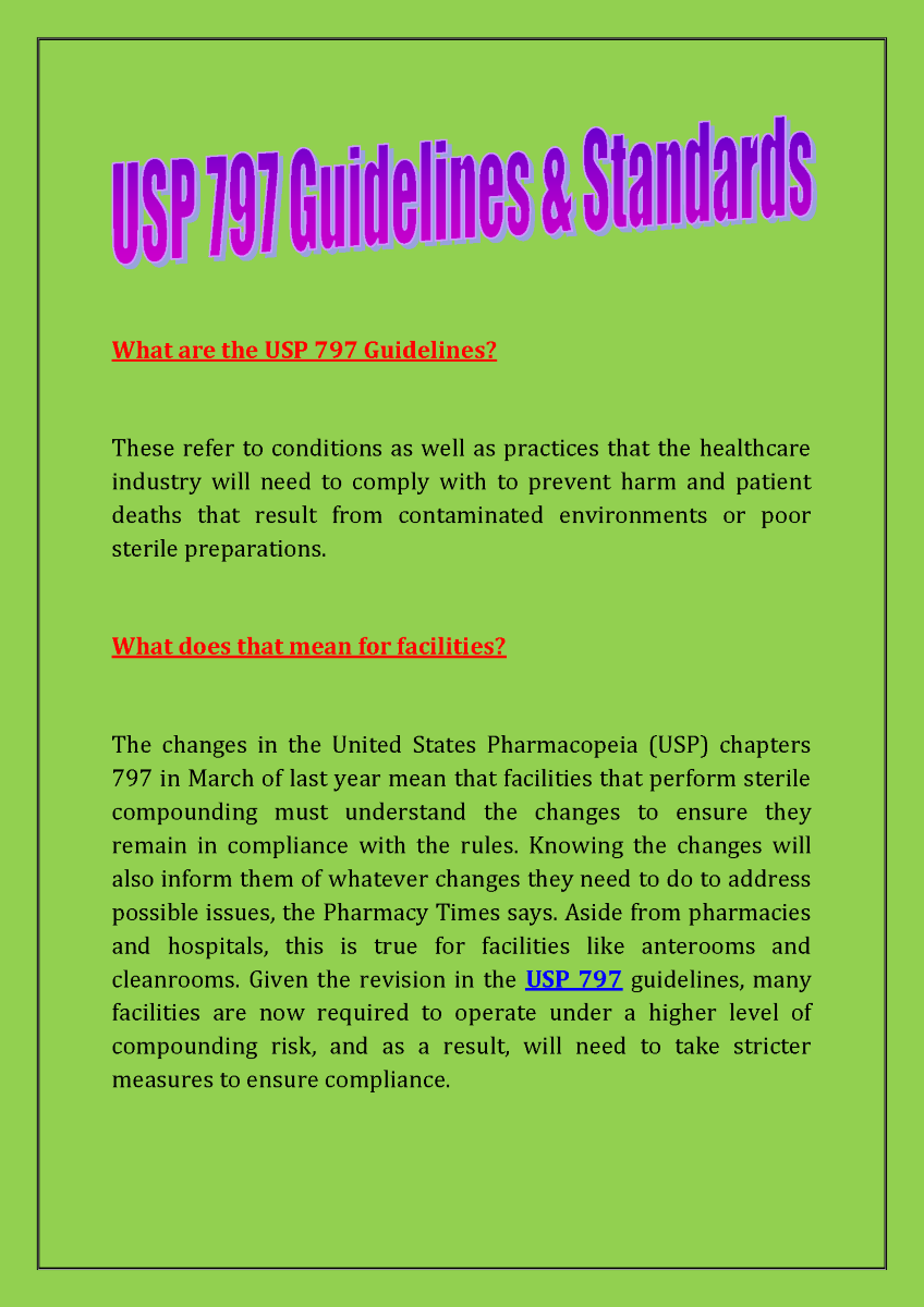 What are the USP 797 Guidelines |authorSTREAM
