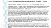 Digital Lead Performance exceeds expectations in the first 6 months