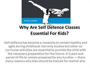 Why Are Self Defence Classes Essential For Kids