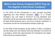 What is One Person Company (OPC)? How do you register a one person com