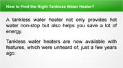 How to Find the Right Tankless Water Heater