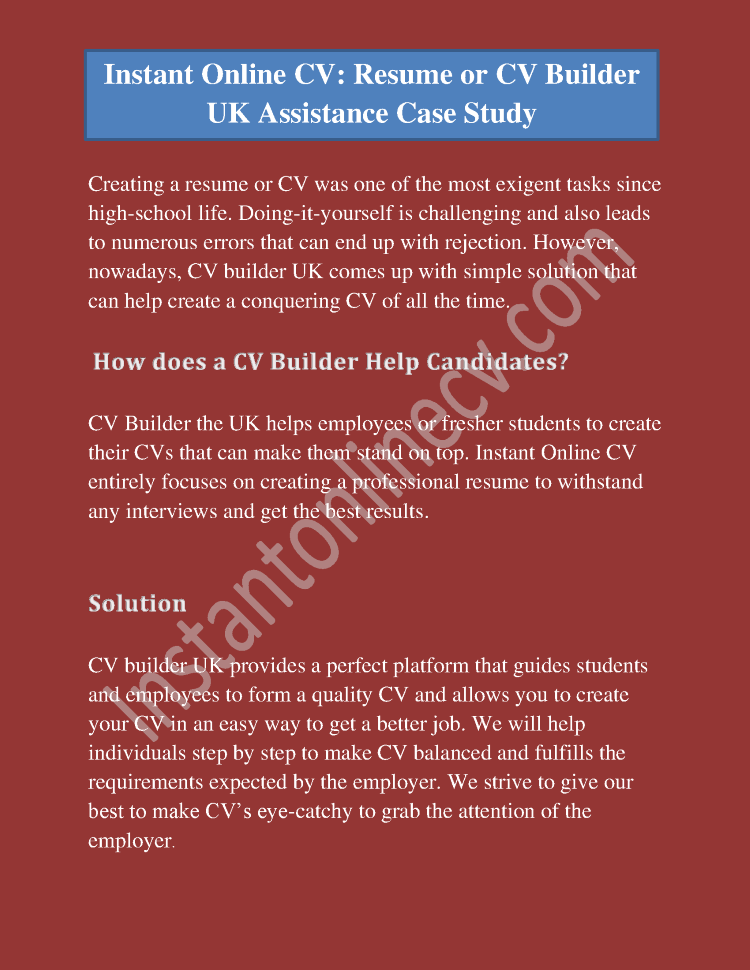 instant online cv  resume or cv builder uk assistance case study