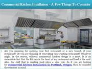 Commercial Kitchen Installation – A Few Things To Consider