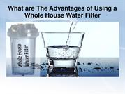 What are The Advantages of Using a Whole House Water Filter