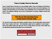 Pasco County Divorce Records