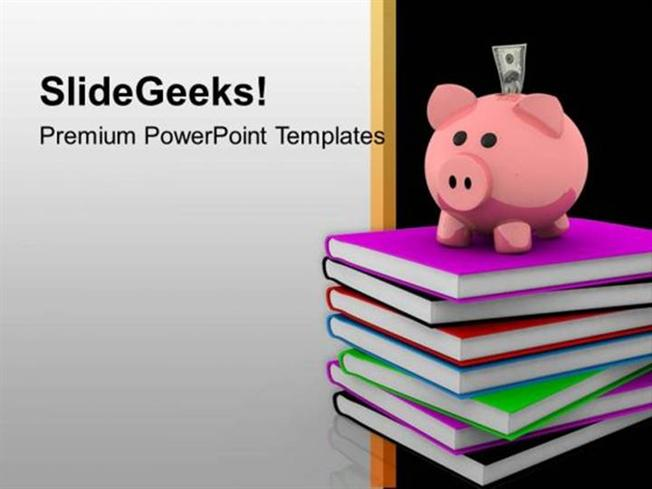piggy bank on books high education powerpoint template-powerpoint, Powerpoint templates