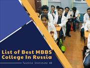 List of Best MBBS College In Russia - Twinkle Institute AB