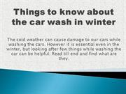 Things to about the car wash in winter