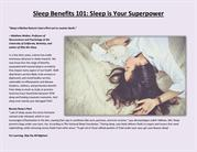 Sleep Benefits 101 Sleep is Your Superpower