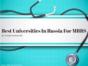 Best Universities in Russia for MBBS - Twinkle Institute AB