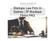 Startups Law Firm In Sydney | IP Boutique Firms FAQ
