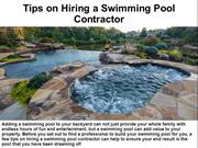 Tips on Hiring a Swimming Pool Contractor