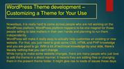 WordPress Theme development – Customizing a Theme for Your Use