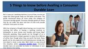 5 Things to know before Availing a Consumer Durable Loan