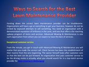 Ways to Search for the Best Lawn Maintenance Provider