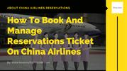 China Airlines Reservations online tickets Booking