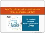Few Techniques to Improve Revenue Cycle Operations in 2020