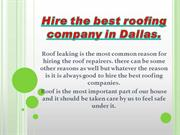 Hire the best roofing company in Dallas