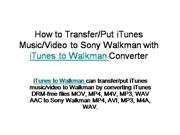 How to Transfer/Put iTunes Music/Video