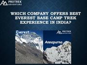 WHICH COMPANY OFFERS BEST EVEREST BASE CAMP TREK EXPERIENCE ININDIA