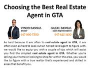Choosing the Best Real Estate Agent in GTA