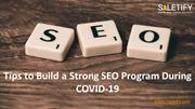 Tips to Build a Strong SEO Program During COVID-19