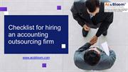 Checklist before hiring an accounting outsourcing firm