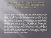 Holdem poker Tips for Amateurs That May Transform