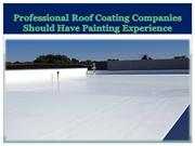 Professional Roof Coating Companies Should Have Painting Experience