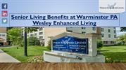 Senior Living Benefits at Warminster PA | Wesley Enhanced Living