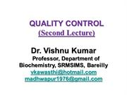 QUALITY CONTROL Lecture 2, Paramedical Students, SRMSIMS Bareilly