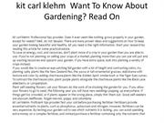 kit carl klehm  Want To Know About Gardening