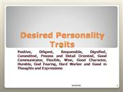 Desired Personality Traits