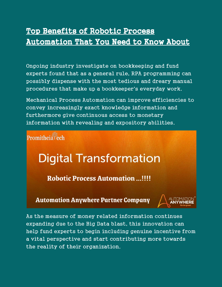 Benefits Of Robotic Process Automation  U2013 Promitheia Tech