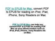 PDF to EPUB for Mac, convert PDF to EPUB