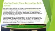 Why You Should Chose Tacoma Pool Table Movers
