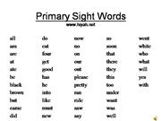 Primary Site Words