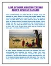 List of Some Amazing things about African safaris