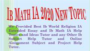 Ib Math IA 2020 New Topics