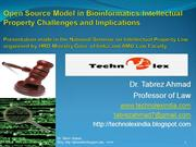 Open source Model in Bio-informatics: IP