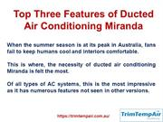 Top Three Features of Ducted Air Conditioning Miranda