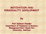 MOTIVATION AND PERSONALITY DEVELOPMENT