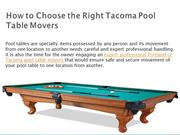 How to Choose the Right Tacoma Pool Table Movers