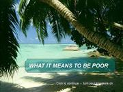 What it means to be poor