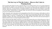The best way to Win the Lottery - Discover the Codes to Winning Inside