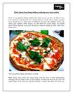 Think about few things before ordering your pizza online
